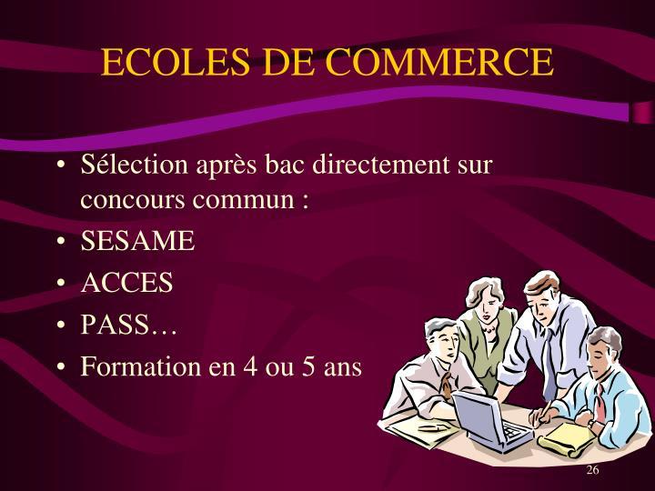 ECOLES DE COMMERCE