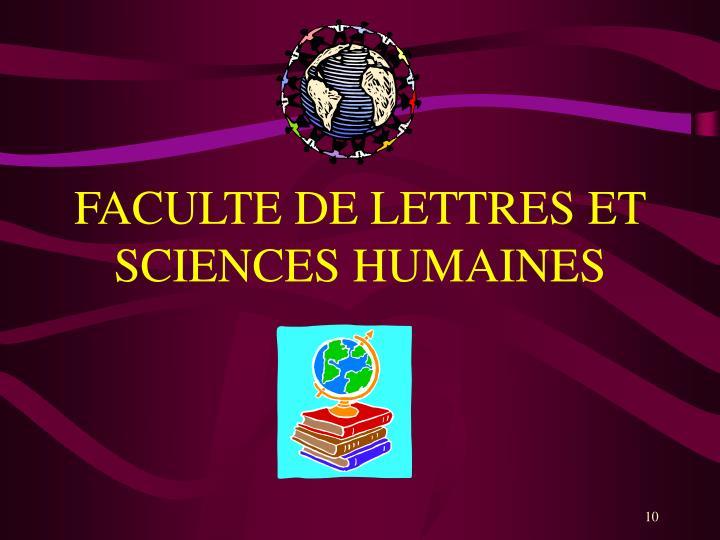 FACULTE DE LETTRES ET SCIENCES HUMAINES