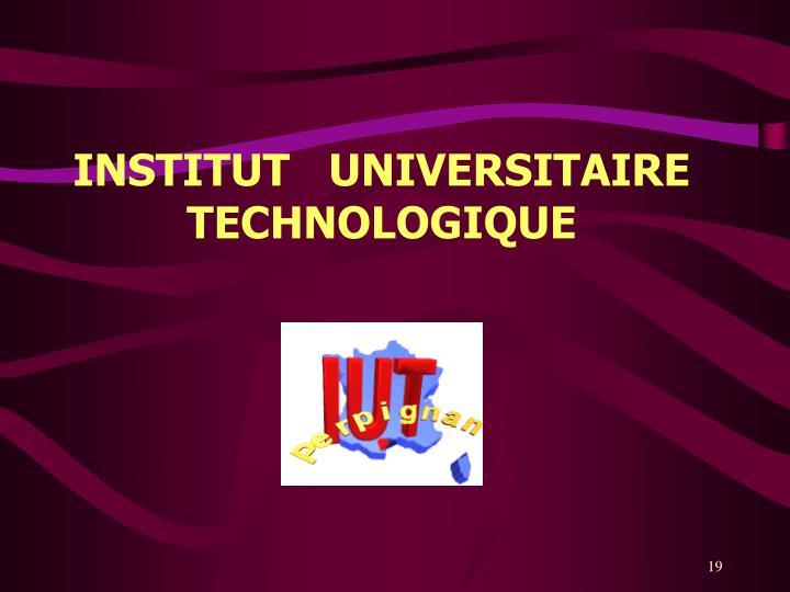 INSTITUT   UNIVERSITAIRE TECHNOLOGIQUE