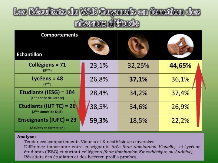 Les Résultats du VAK Guyanais en fonction des niveaux d'étude