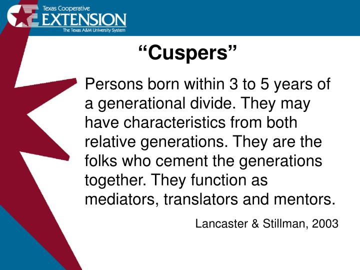 """Cuspers"""