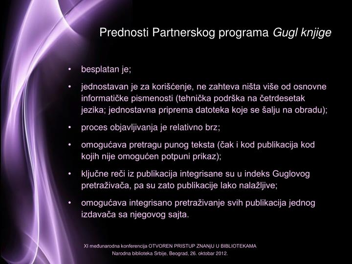 Prednosti Partnerskog programa