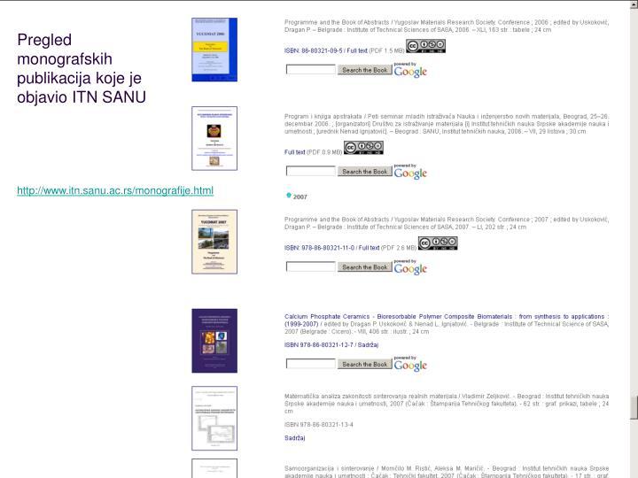 Pregled monografskih publikacija koje je objavio