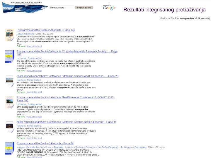 Rezultati integrisanog pretraživanja