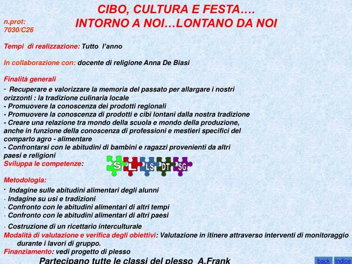 CIBO, CULTURA E FESTA….