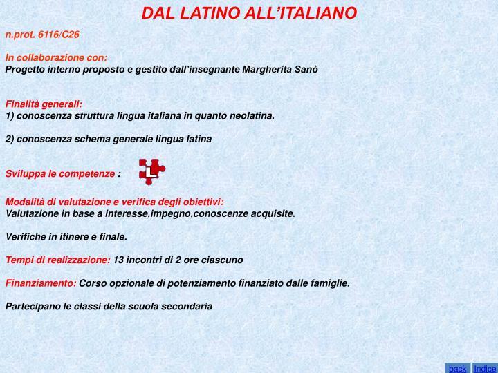 DAL LATINO ALL'ITALIANO