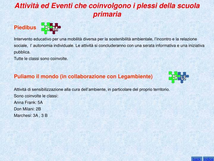 Attività ed Eventi che coinvolgono i plessi della scuola primaria