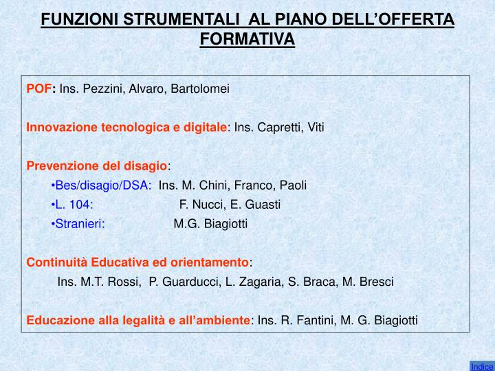 FUNZIONI STRUMENTALI  AL PIANO DELL'OFFERTA FORMATIVA
