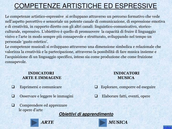 COMPETENZE ARTISTICHE ED ESPRESSIVE