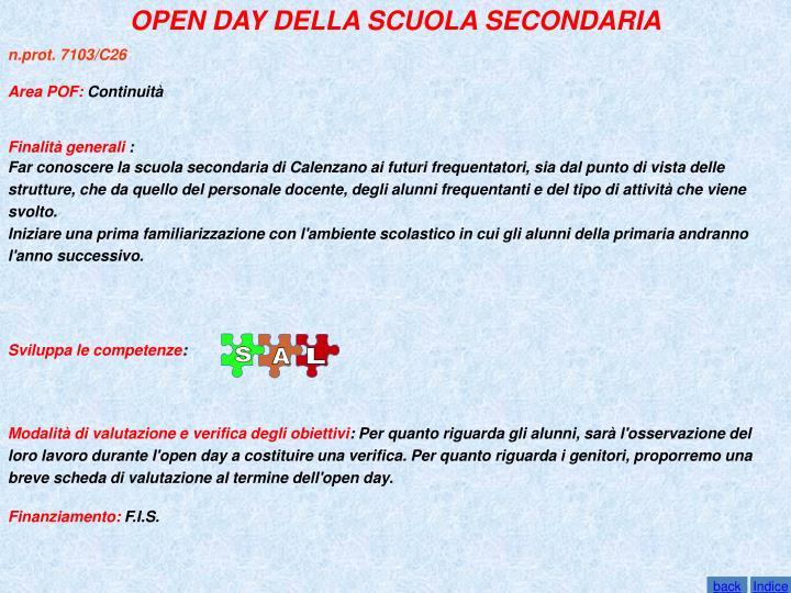 OPEN DAY DELLA SCUOLA SECONDARIA