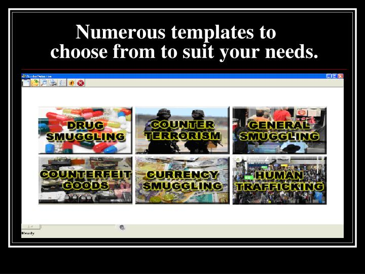 Numerous templates to
