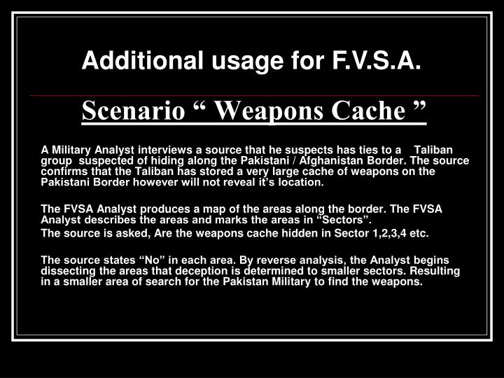 "Scenario "" Weapons Cache """