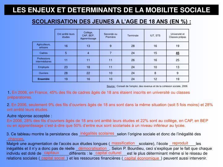 LES ENJEUX ET DETERMINANTS DE LA MOBILITE SOCIALE