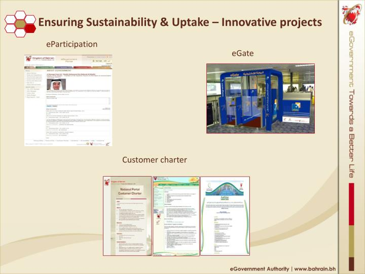 Ensuring Sustainability & Uptake – Innovative projects