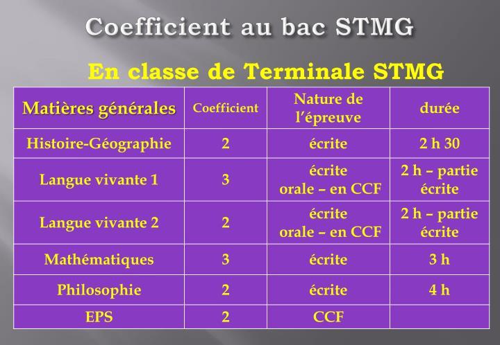 Coefficient au bac STMG