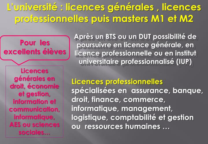L'université : licences générales ,