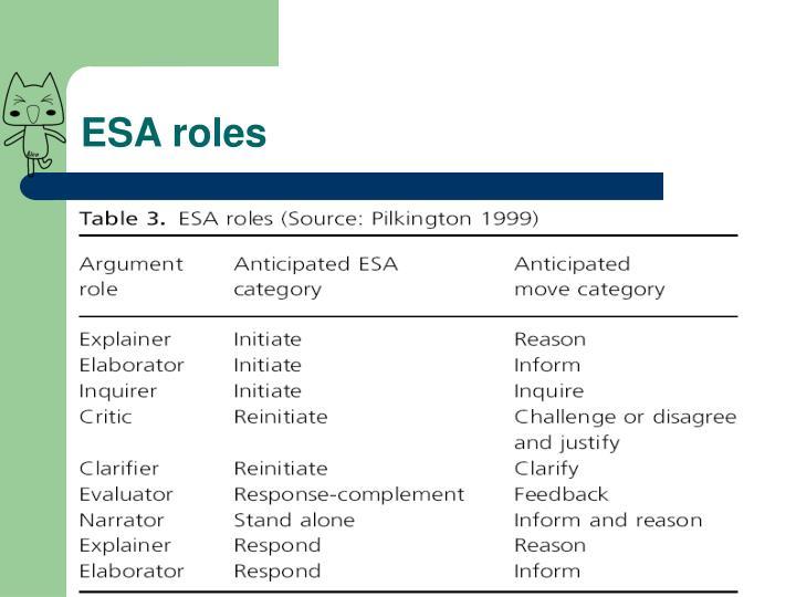 ESA roles