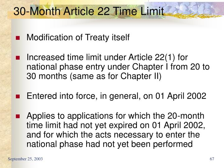 30-Month Article 22 Time Limit