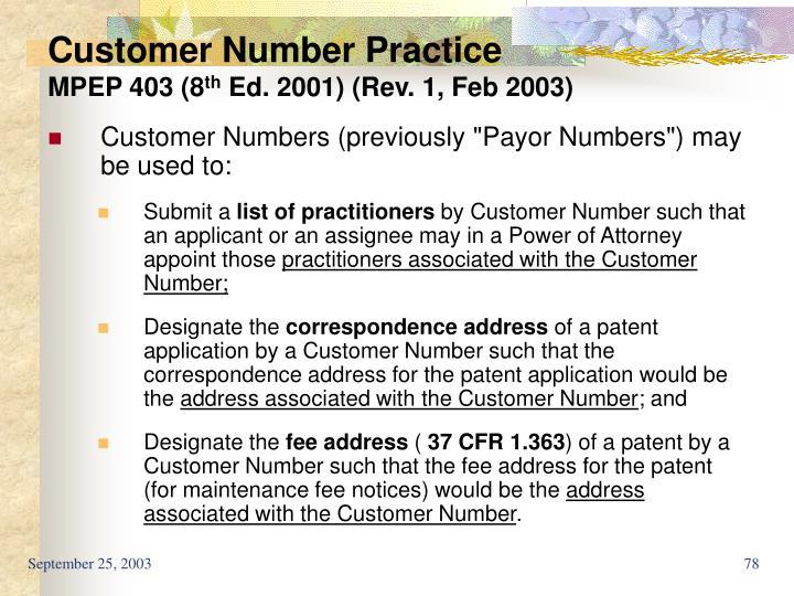 Customer Number Practice