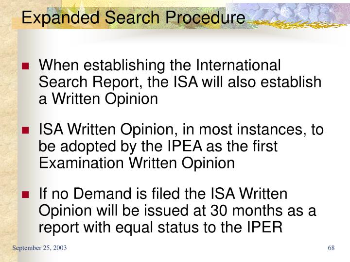 Expanded Search Procedure