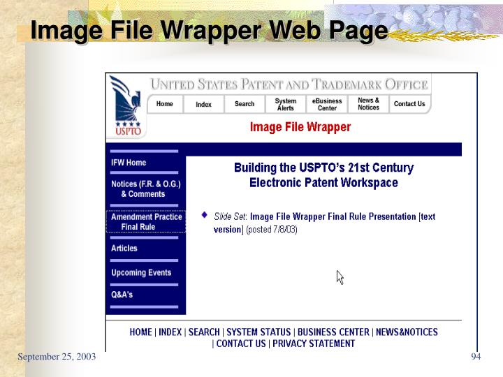 Image File Wrapper Web Page