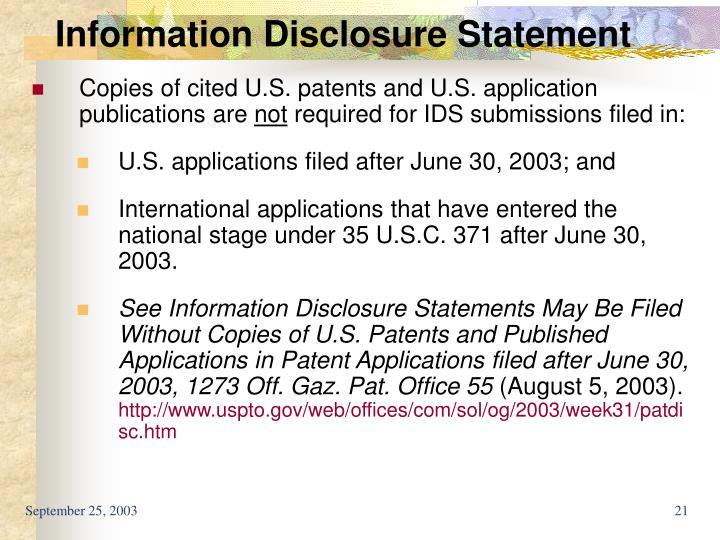 Information Disclosure Statement