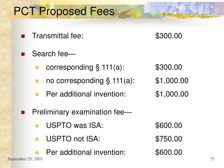 PCT Proposed Fees