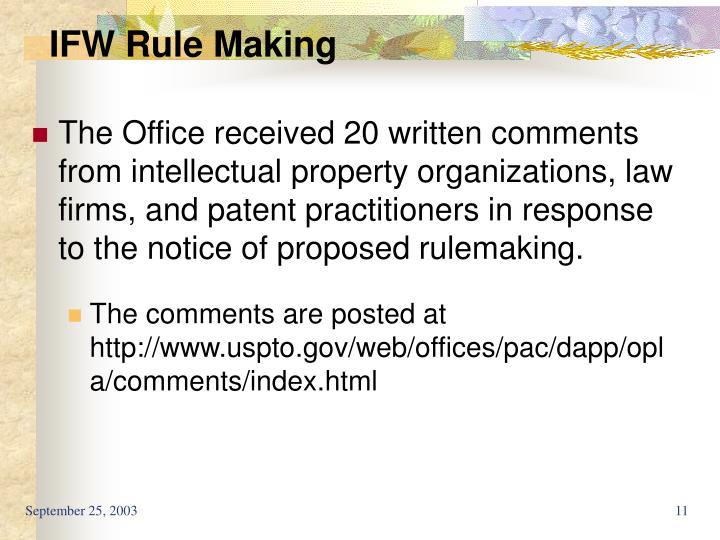 IFW Rule Making