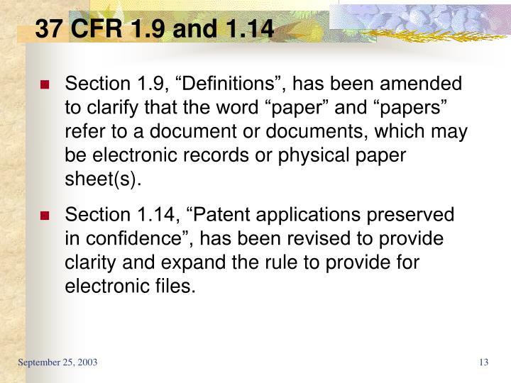 37 CFR 1.9 and 1.14