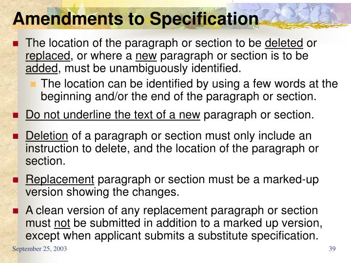 Amendments to Specification