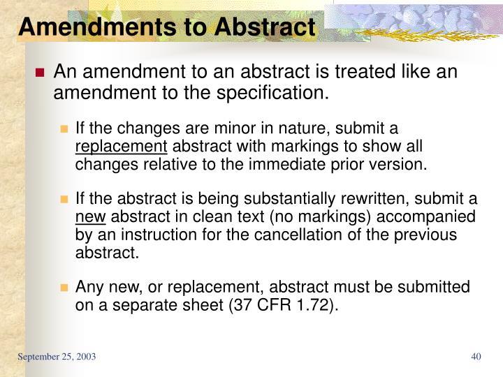 Amendments to Abstract