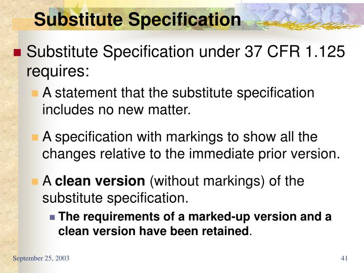 Substitute Specification