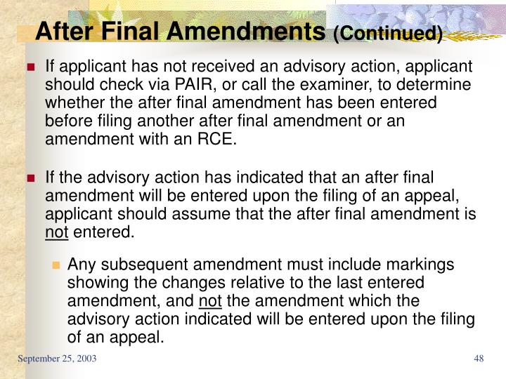After Final Amendments