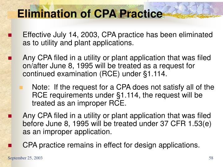 Elimination of CPA Practice