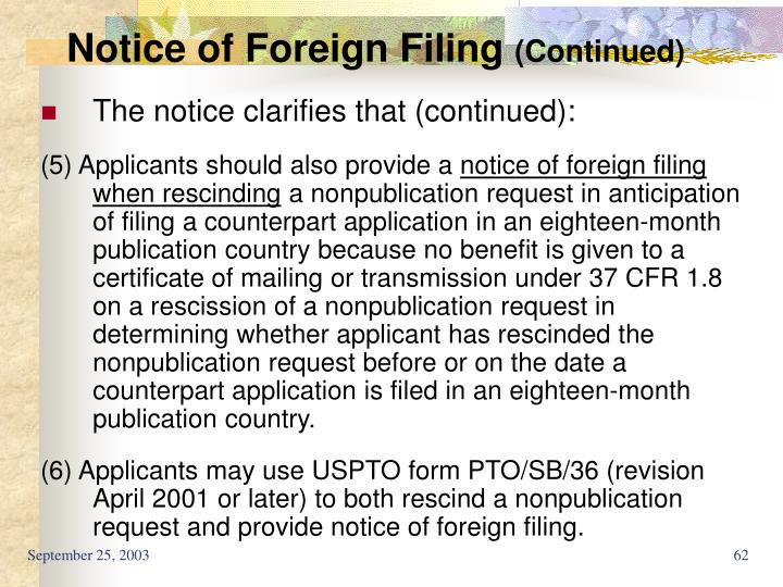 Notice of Foreign Filing