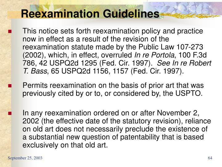 Reexamination Guidelines