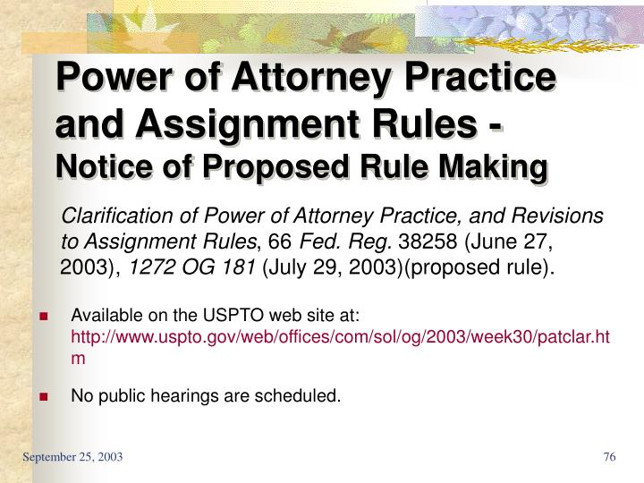 Power of Attorney Practice and Assignment Rules -