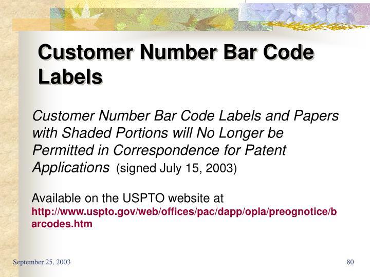 Customer Number Bar Code Labels