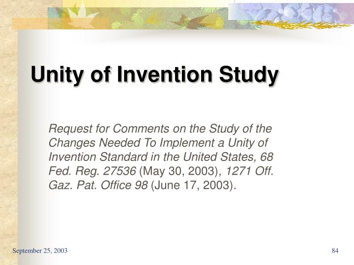 Unity of Invention Study