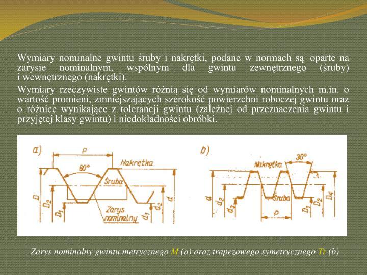 Wymiary nominalne gwintu śruby i nakrętki, podane wnormach są