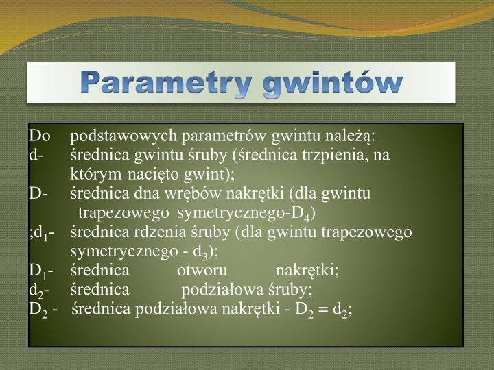 Parametry gwintów