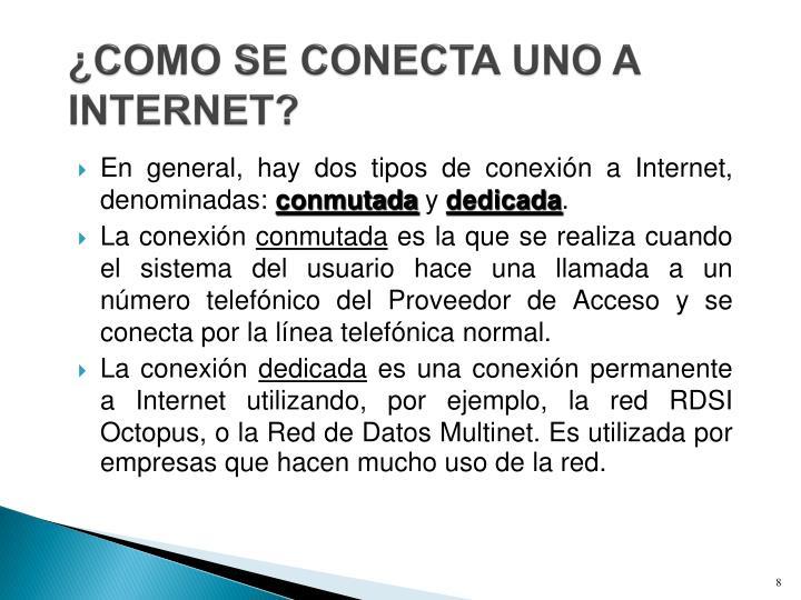 ¿COMO SE CONECTA UNO A INTERNET?