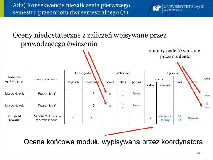 Ad2) Konsekwencje niezaliczenia pierwszego semestru przedmiotu dwusemestralnego (3)