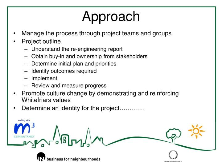 Manage the process through project teams and groups