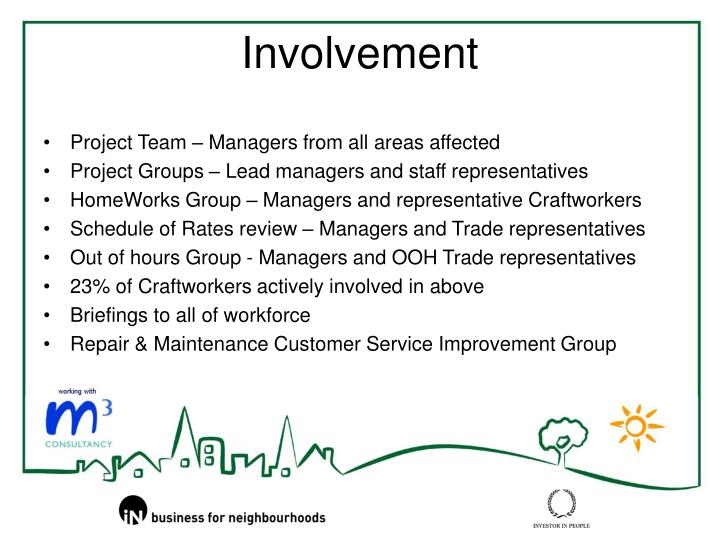 Project Team – Managers from all areas affected
