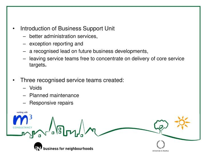 Introduction of Business Support Unit