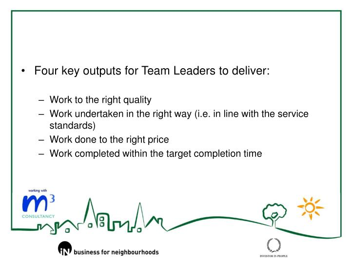Four key outputs for Team Leaders to deliver:
