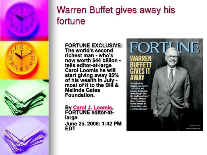 Warren buffet gives away his fortune
