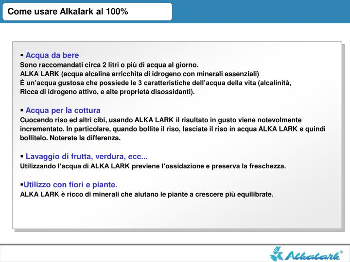 Come usare Alkalark al 100%