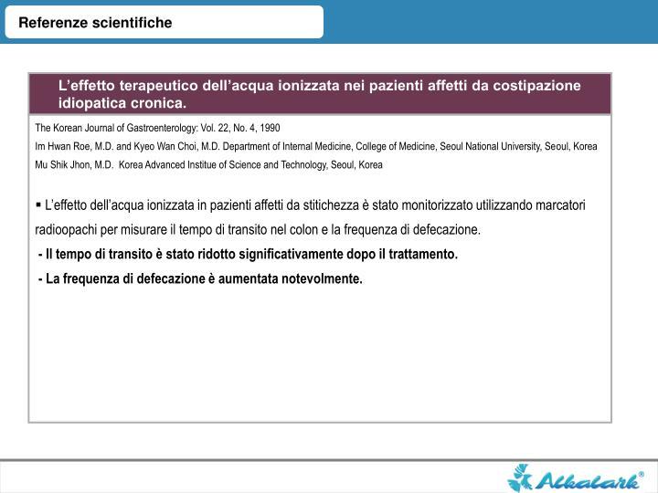 Referenze scientifiche